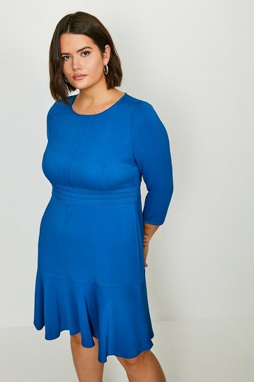 Blue Curve Long Sleeve Ruffle Hem Dress