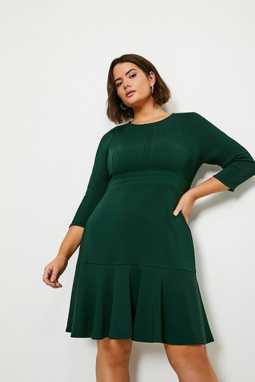 Forest Curve Long Sleeve Ruffle Hem Dress