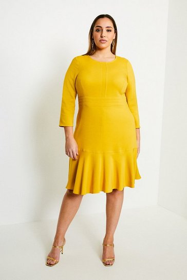 Mustard Curve Long Sleeve Ruffle Hem Dress