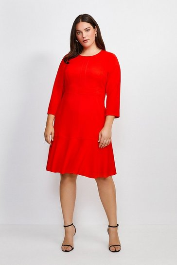 Red Curve Long Sleeve Ruffle Hem Dress