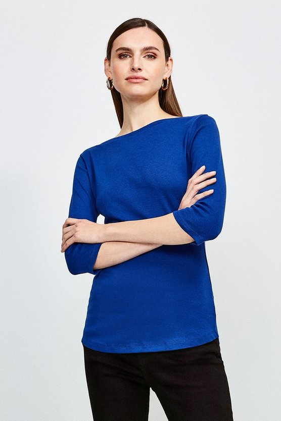 Mid blue Essential Cotton Slash Neck 3/4 Sleeved Top