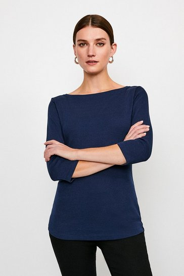Navy Essential Cotton Slash Neck 3/4 Sleeved Top
