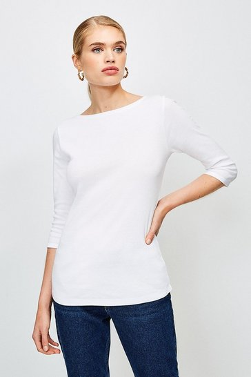 White Essential Cotton Slash Neck 3/4 Sleeved Top