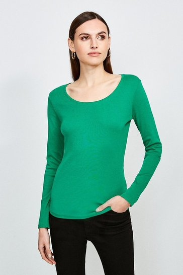Green Essential Cotton Long Sleeved Scoop Neck Top