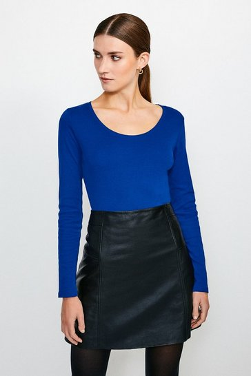 Mid blue Essential Cotton Long Sleeved Scoop Neck Top