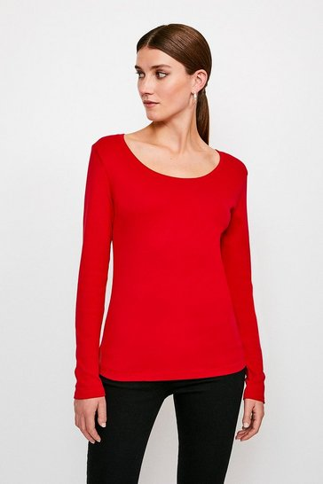 Rust Essential Cotton Long Sleeved Scoop Neck Top