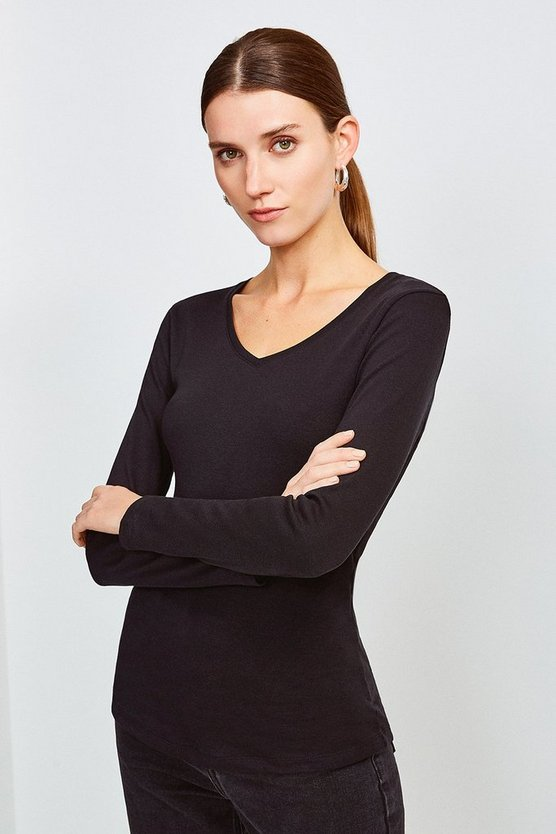 Black Essential Cotton Long Sleeved V Neck Top
