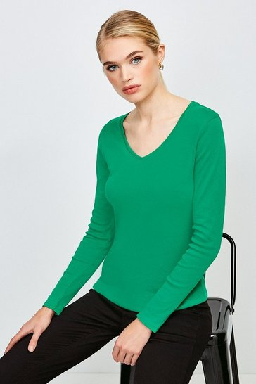Green Essential Cotton Long Sleeved V Neck Top