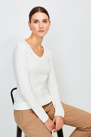 Ivory Essential Cotton Long Sleeved V Neck Top