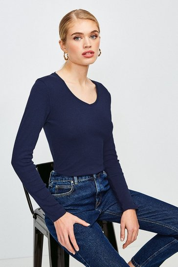Navy Essential Cotton Long Sleeved V Neck Top