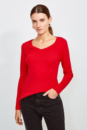 Rust Essential Cotton Long Sleeved V Neck Top