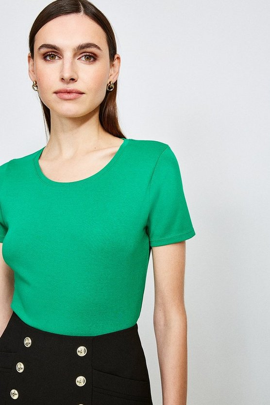 Green Essential Cotton Short Sleeved Crew Top