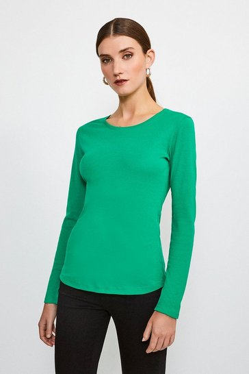 Green Essential Cotton Long Sleeved Crew Top