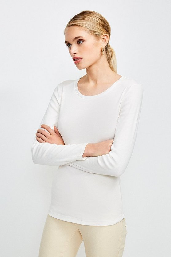 Ivory Essential Cotton Long Sleeved Crew Top