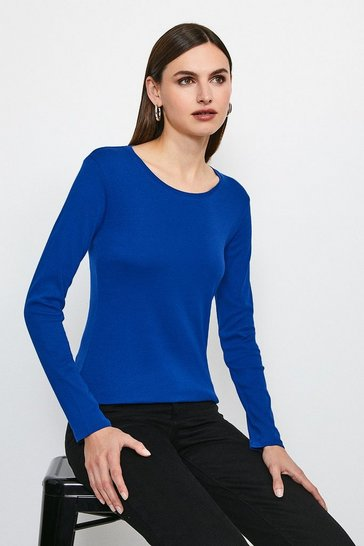 Mid blue Essential Cotton Long Sleeved Crew Top