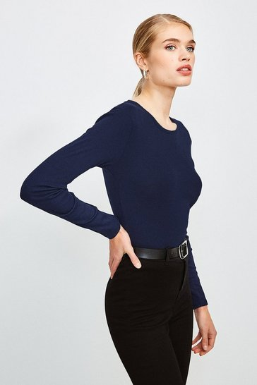 Navy Essential Cotton Long Sleeved Crew Top