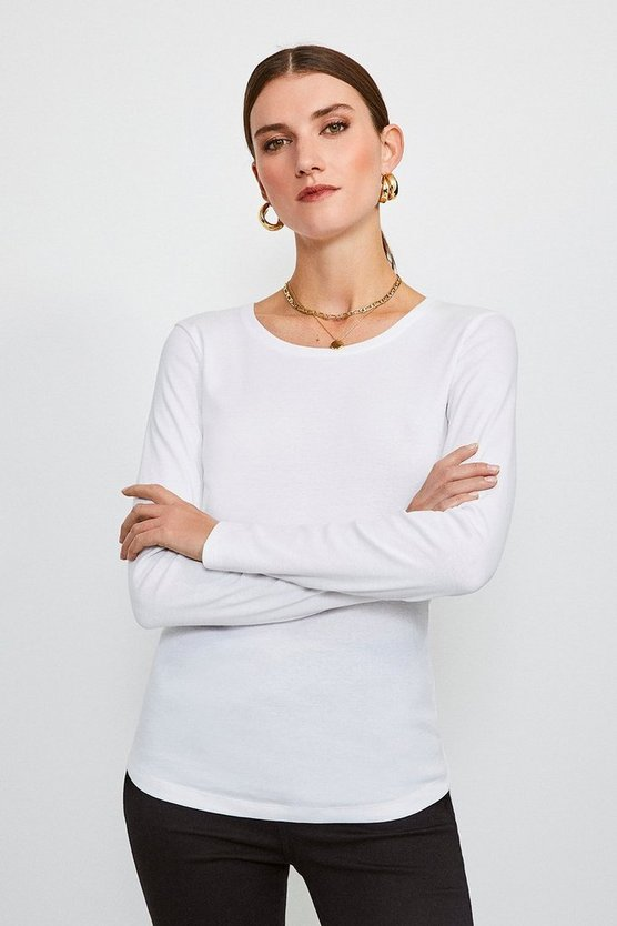 White Essential Cotton Long Sleeved Crew Top