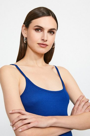 Mid blue Essential Cotton Cami Top
