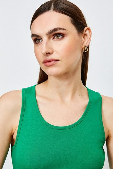 Green Essential Cotton Crew Vest Top