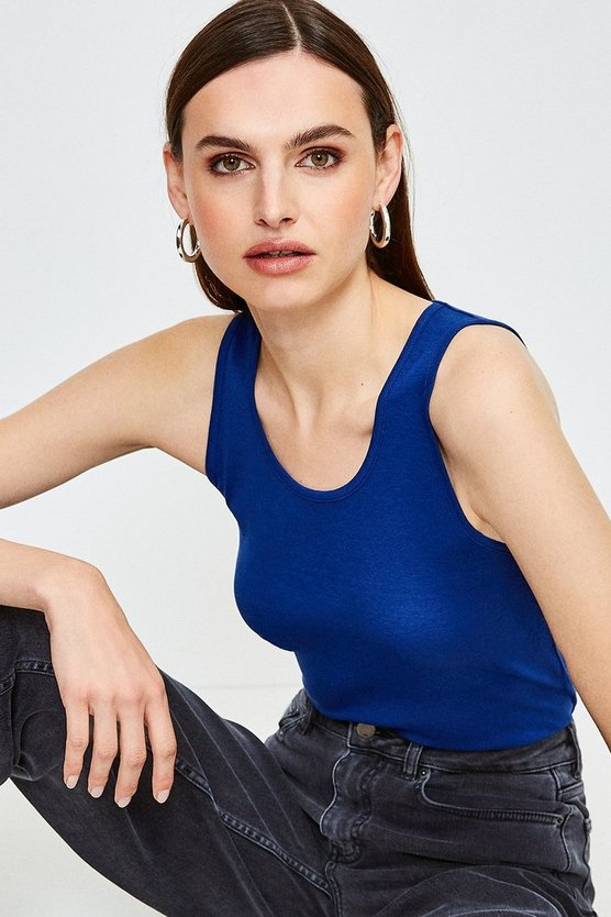 Mid blue Essential Cotton Crew Vest Top