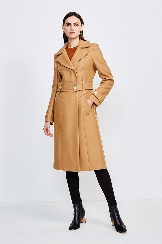 Camel Minimal Military Wool Blend Coat
