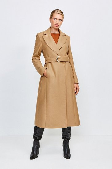 Camel Ring Belted Classic Wool Coat