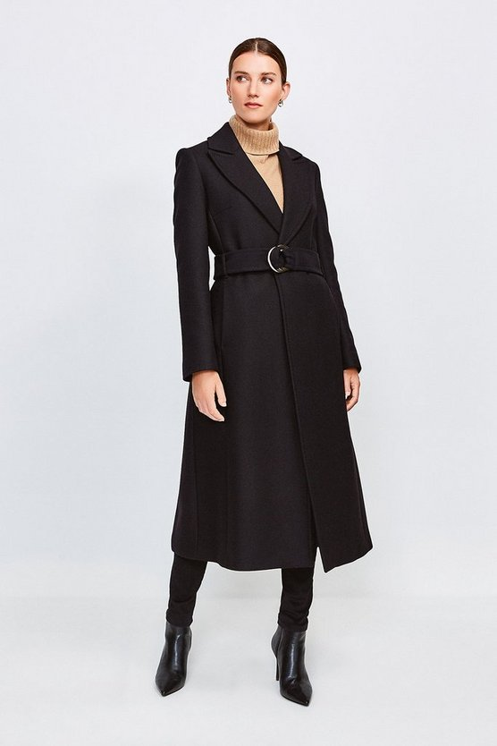 Black Ring Belted Classic Wool Coat