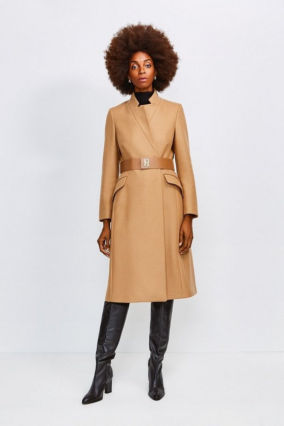 Camel Hardware Belted Wool Coat