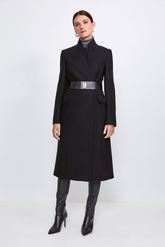 Black Hardware Belted Wool Coat