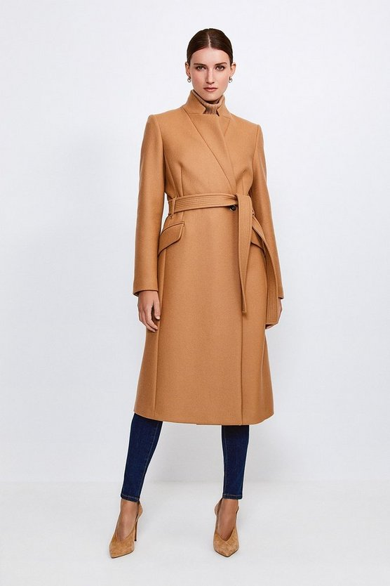 Camel Investment Notch Neck Rivet Coat