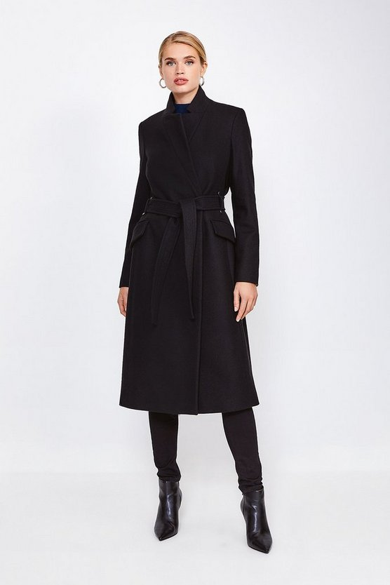Black Investment Notch Neck Rivet Coat