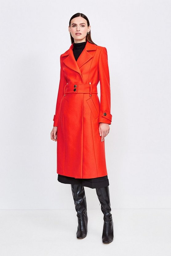 Orange Wool Blend Popper Detail Coat