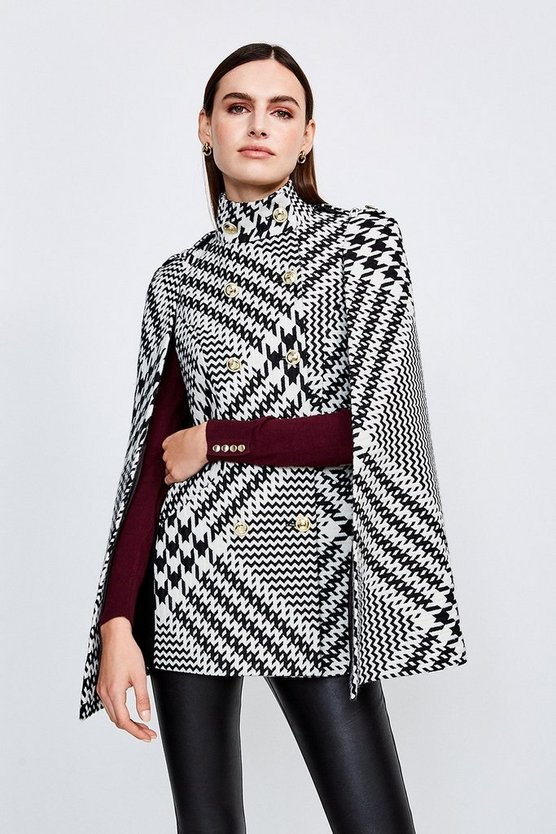 Mono Oversized Check Military Button Cape