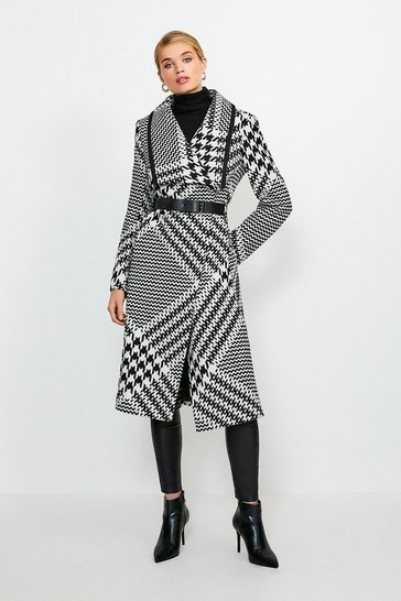 Mono Oversized Check Belted Coat