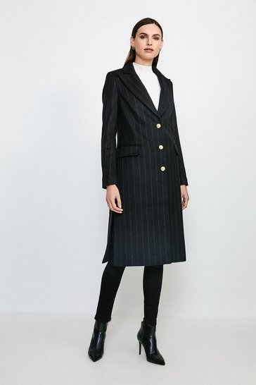 Black Wool Cashmere Pinstripe Coat