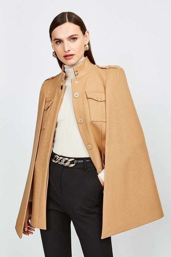 Camel Military Wool Melton Cape
