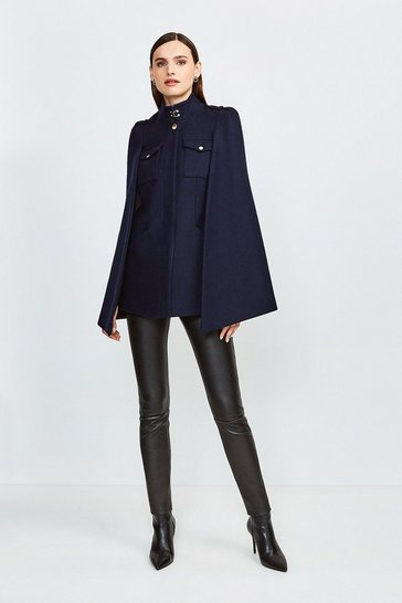Navy Military Wool Melton Cape