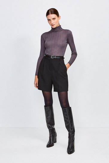 Black City Stretch Twill Belted Short