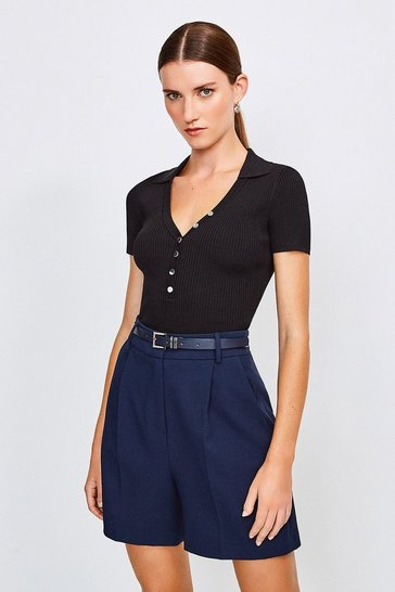 Navy City Stretch Twill Belted Short