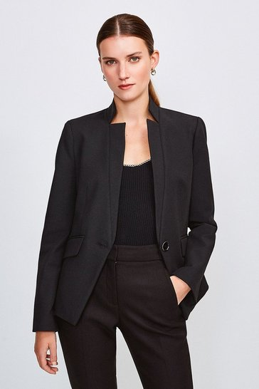 Black City Stretch Twill Single Breasted Jacket