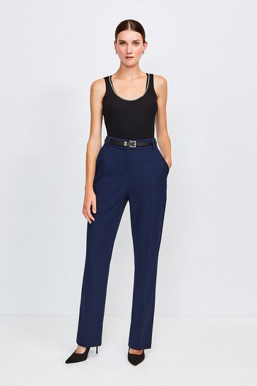 Navy City Stretch Twill Belted Capri Trousers