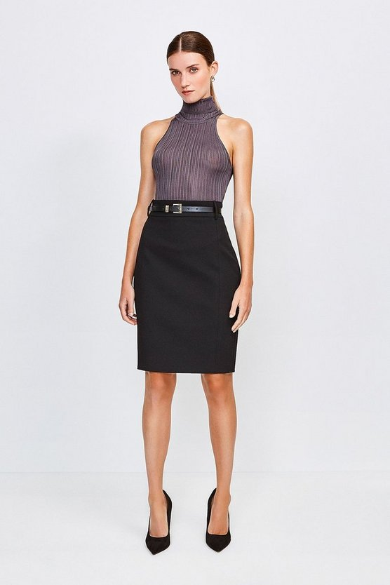 Black City Stretch Twill Pencil Skirt