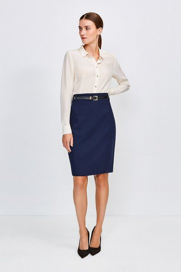 Navy City Stretch Twill Pencil Skirt