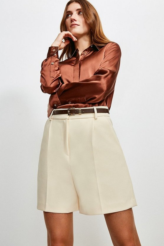 Cream City Stretch Twill Belted Short