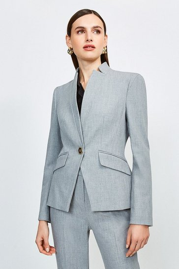Grey City Stretch Twill Single Breasted Jacket