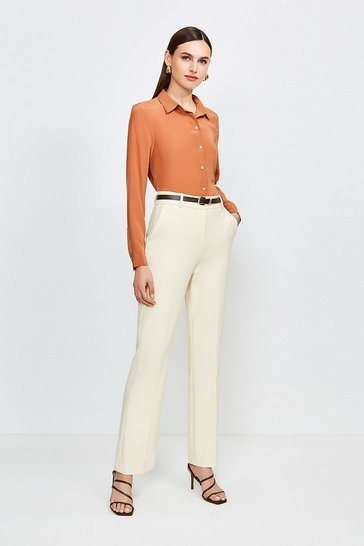 Cream City Stretch Twill Belted Capri Trousers
