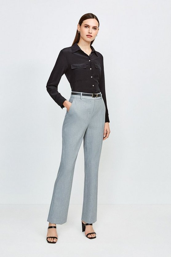 Grey City Stretch Twill Belted Capri Trousers
