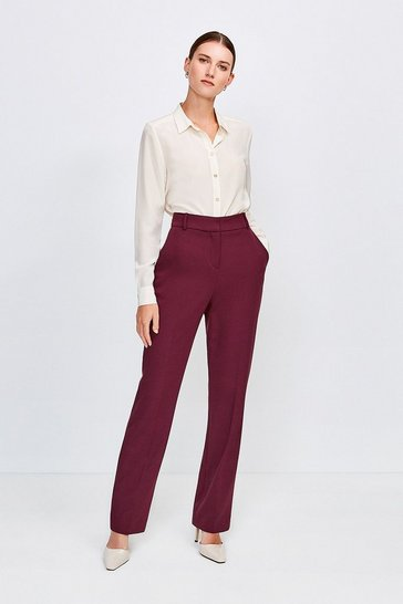 Wine City Stretch Twill Belted Capri Trousers