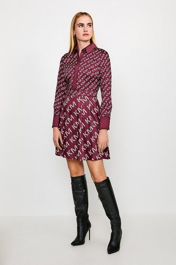 Burgundy Logo Mini Shirt Dress With Piping