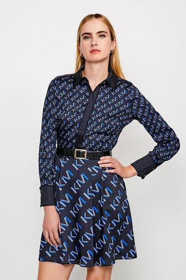 Navy Logo Mini Shirt Dress With Piping